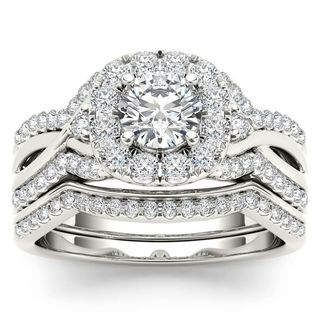 De Couer 14k White Gold 1 1/4ct TDW Diamond Halo Engagement Ring Set with One Band