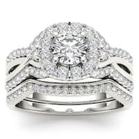 De Couer 14k White Gold 1 1/4ct TDW Diamond Halo Engagement Ring Set with One Band - White H-I
