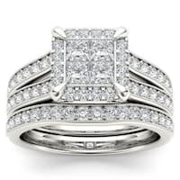 De Couer 14k White Gold 1 1/2ct TDW Diamond Halo Engagement Ring Set with One Band - White H-I