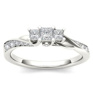 De Couer 10k White Gold 1/2ct TDW Diamond Three-Stone Anniversary Ring - White H-I