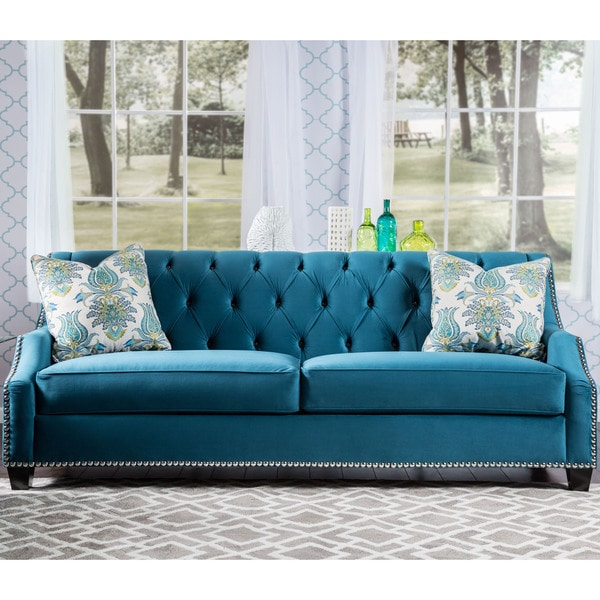Furniture of america elsira premium velvet cerulean blue for Blue couches for sale