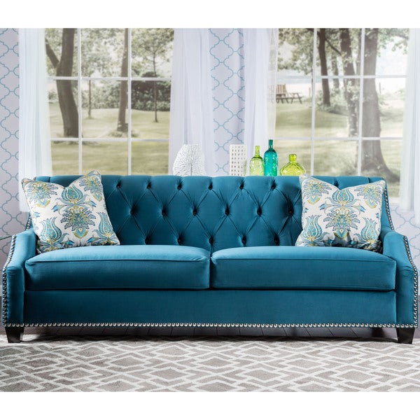 Furniture Of America Elsira Premium Velvet Cerulean Blue