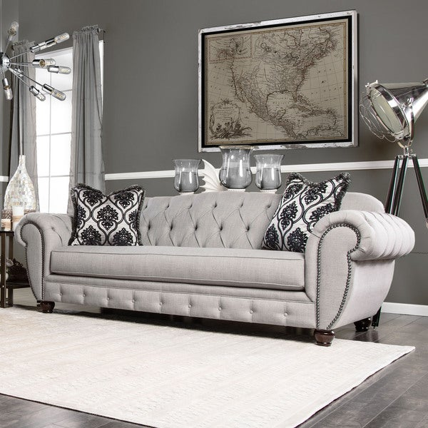 Furniture Of America Augusta Victorian Grey Sofa