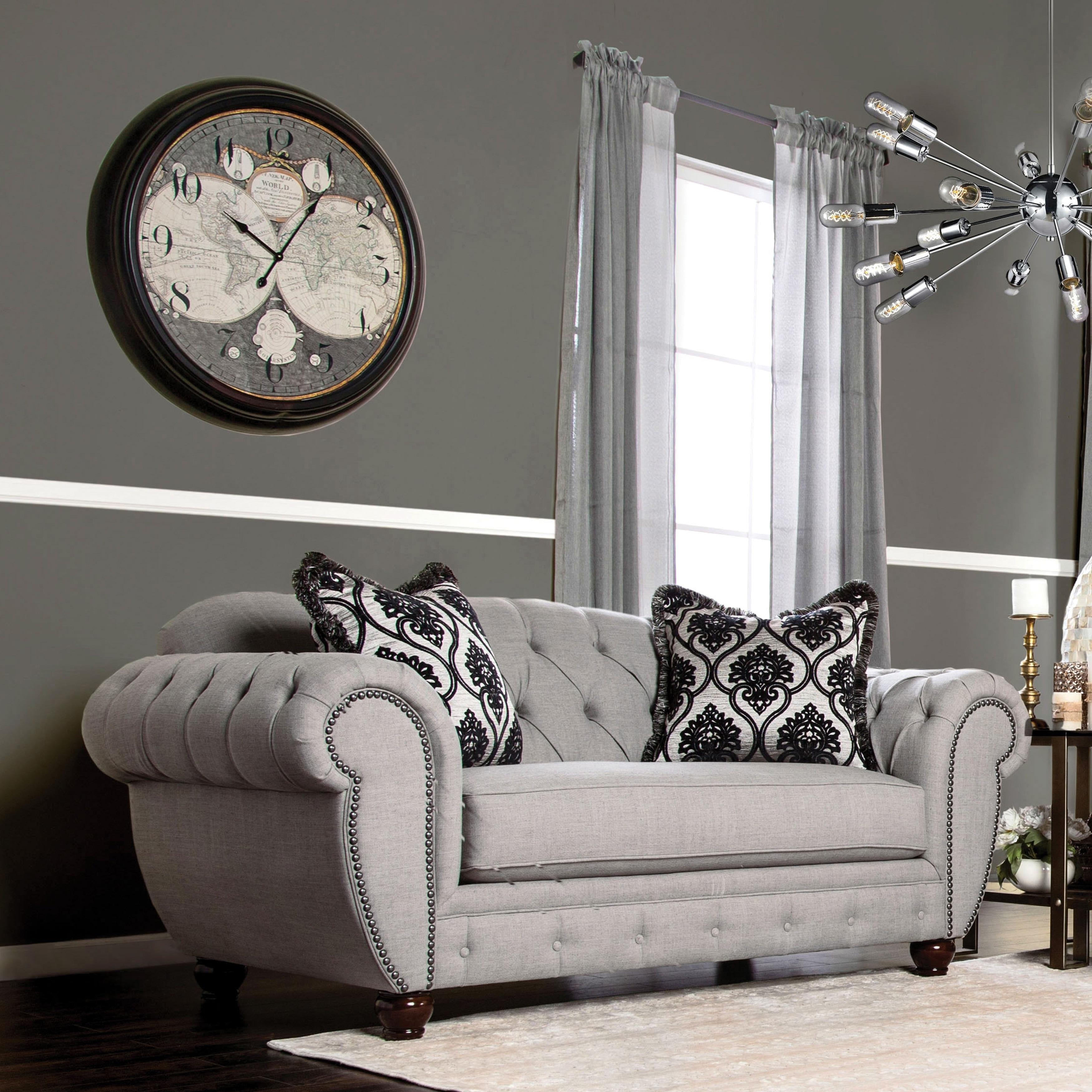 Furniture of America Augusta Victorian Grey Sofa (Grey) (...