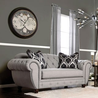 furniture of america augusta victorian grey loveseat