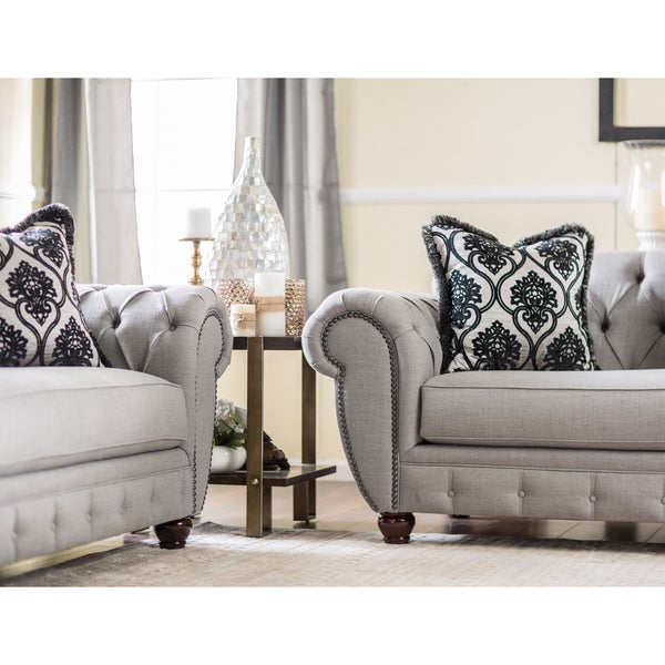 Furniture Of America Augusta Victorian Grey 2 Piece Sofa Set   Free  Shipping Today   Overstock.com   17447730
