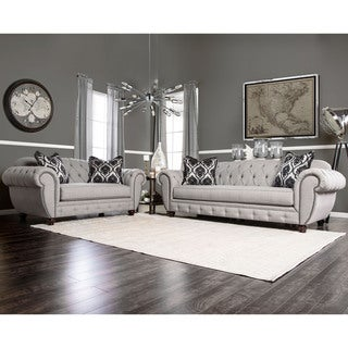 Furniture of America Augusta Victorian Grey 2-piece Sofa Set
