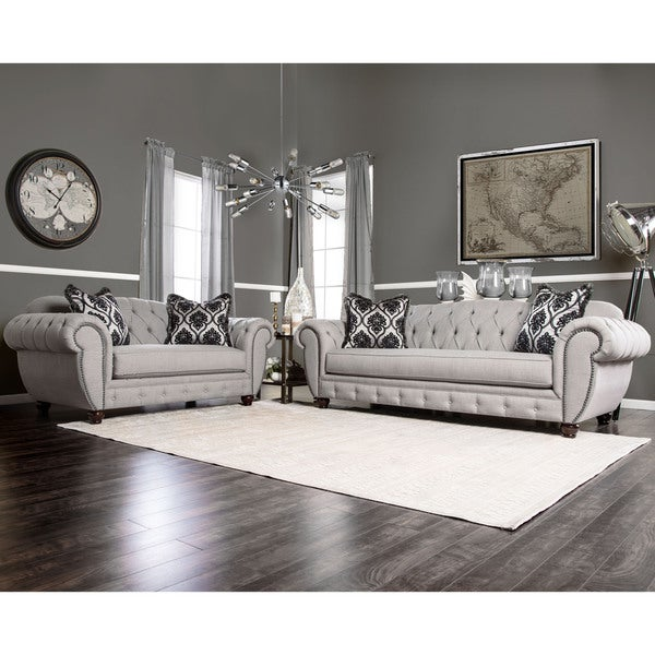 Furniture Of America Augusta Victorian Grey 2 Piece Sofa Set