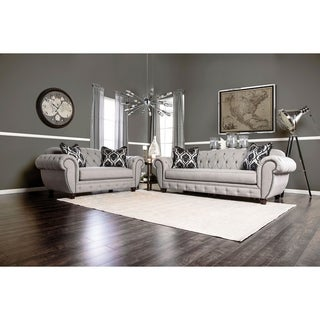 Furniture of America Ponn Tufted Grey Linen 2-piece Sofa Set