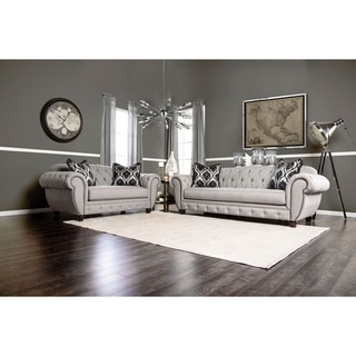 Furniture of America Augusta Victorian Grey 2-piece Sofa Set