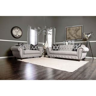 Furniture of America Augusta Victorian Grey 2 piece Sofa Set. Sofas  Couches   Loveseats For Less   Overstock com