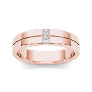 De Couer 14k Rose Gold 1/5ct TDW Diamond Men's Band - Pink