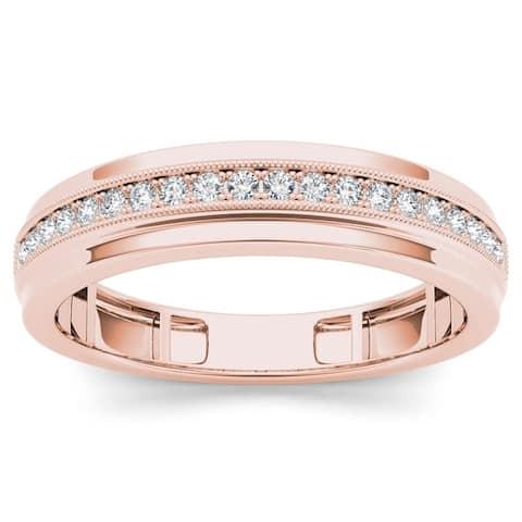 De Couer 10k Rose Gold 1/4ct TDW Men's Wedding Band - Pink