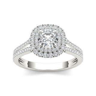 De Couer 14k Gold 1 1/3ct TDW Diamond Engagement Ring - White H-I