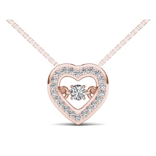 De Couer 10k Rose Gold 1/5ct TDW Diamond Heart Beat Necklace (H-I, I2)