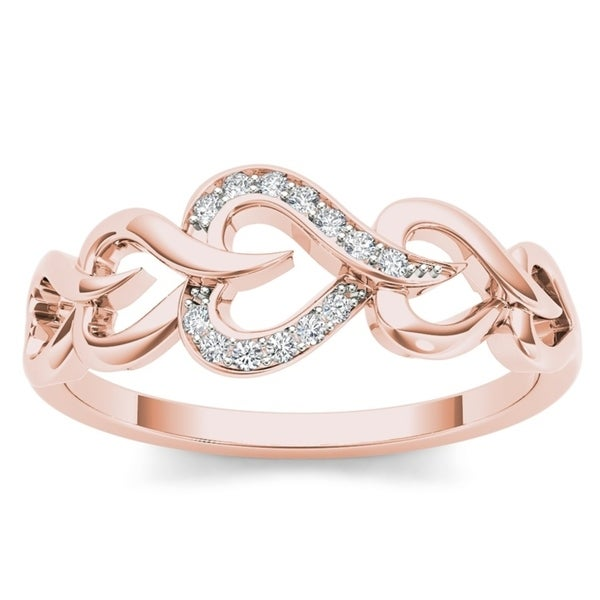 De Couer 10k Yellow Gold 1/20ct TDW Diamond Heart Ring
