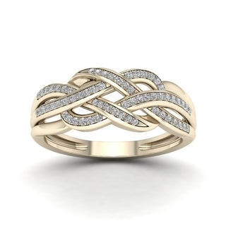 De Couer 10k Yellow Gold 1/5ct TDW Diamond Swirling Ring