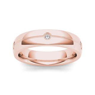 De Couer 14k Rose Gold 1/8ct TDW Diamond Men's Wedding Band (H-I, I2)