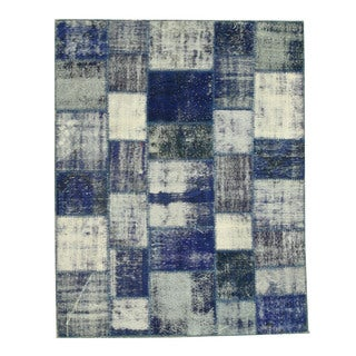 EORC Hand Knotted Wool Blue Turkish Patch Rug (6'2 x 7'9)