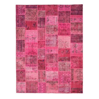 Hand-knotted Wool Pink Transitional Oriental Turkish Patch Rug (9' x 12')