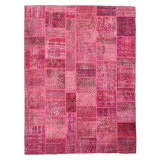 Hand-knotted Wool Pink Transitional Oriental Turkish Patch Rug (9'1 x 12'1)