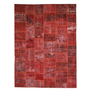 EORC Hand Knotted Wool Rust Turkish Patch Rug (9' x 12')