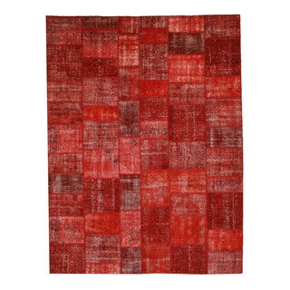 Hand-knotted Wool Orange Transitional Oriental Turkish Patch Rug (10' x 14')
