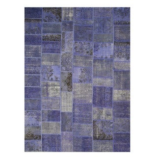 Hand-knotted Wool Blue Transitional Oriental Turkish Patch Rug (9' x 12')