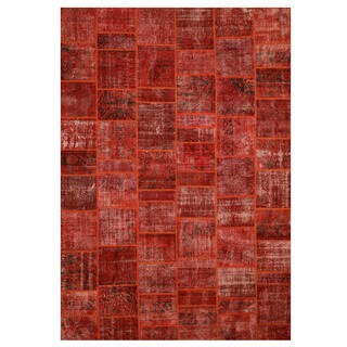Hand-knotted Wool Red Transitional Oriental Turkish Patch Rug - 10' x 14'2