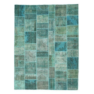Hand-knotted Wool Green Transitional Oriental Turkish Patch Rug (9' x 12')