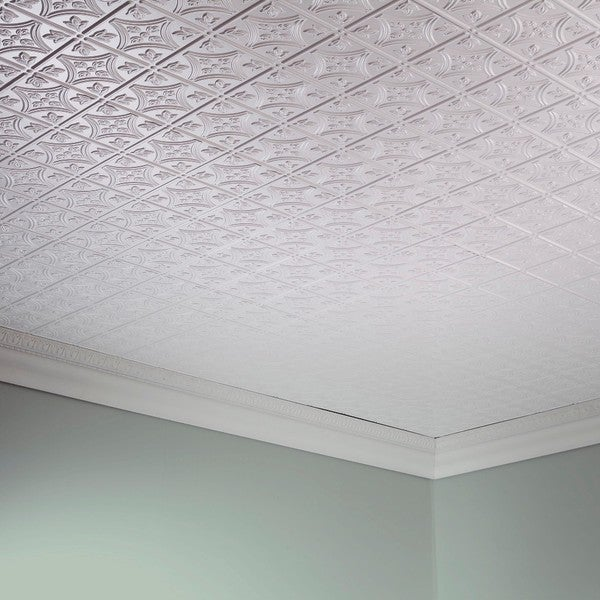 fasade traditional style 1 matte white 2 foot x 4 foot glue - Glue Up Ceiling Tiles