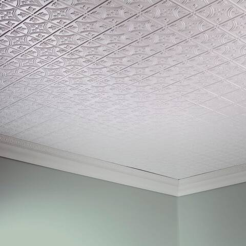 Fasade Traditional Style #1 Matte White 2-ft x 4-ft Glue-up Ceiling Tile