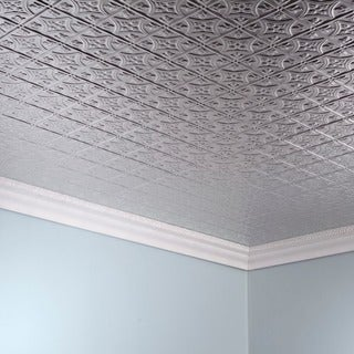 Fasade Traditional Style #1 Brushed Aluminum 2-foot x 4-foot Glue-up Ceiling Tile