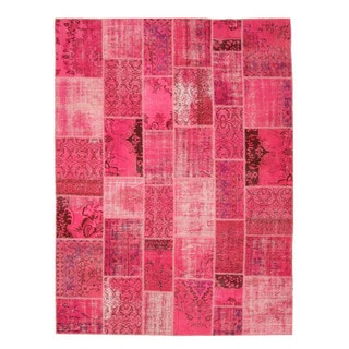 EORC Hand Knotted Wool Pink Turkish Patch Rug (7'9 x 10'6)
