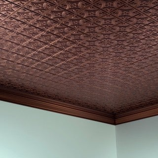 Fasade Traditional Style #1 Oil Rubbed Bronze 2-ft x 4-ft Glue-up Ceiling Tile
