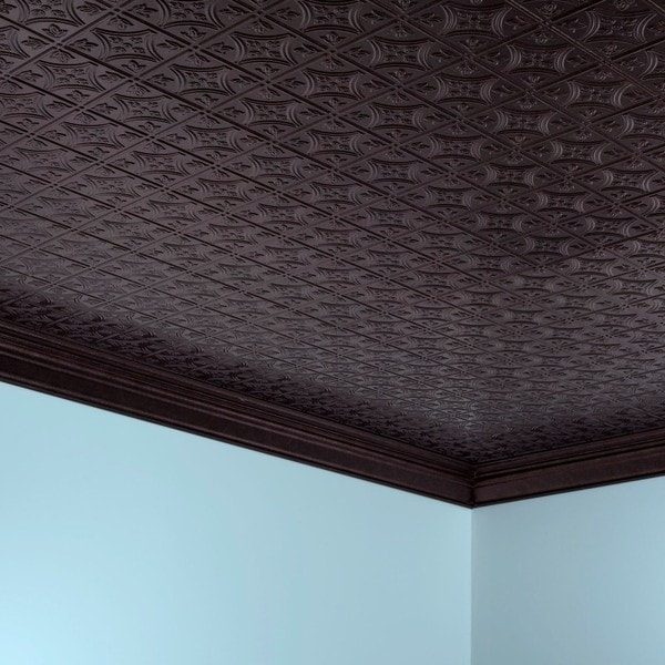 Shop Fasade Traditional Style Smoked Pewter Foot X Foot Glue - 1 x 2 ceiling tiles