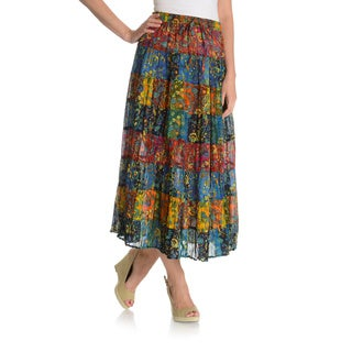 La Cera Women's Printed Drawstring Peasant Skirt
