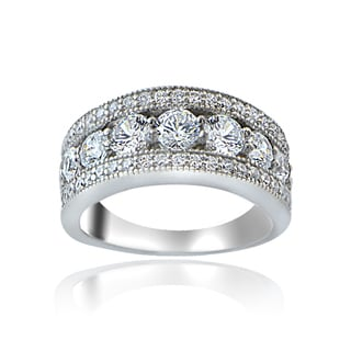 Icz Stonez Sterling Silver 100 Facets Cubic Zirconia Band Ring