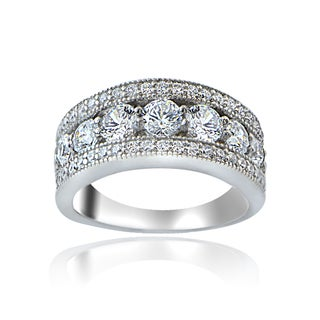 Icz Stonez Sterling Silver 100 Facets Cubic Zirconia Band Ring (2 options available)