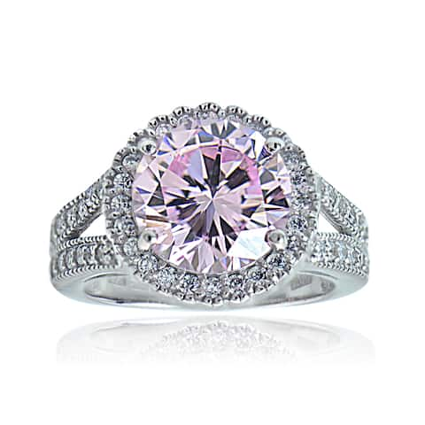 Icz Stones Sterling Silver Pink and White Cubic Zirconia Round Ring