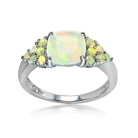 Glitzy Rocks Sterling Silver Ethiopian Opal Cushion-Cut Ring