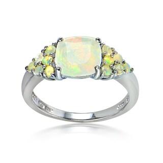 Glitzy Rocks Sterling Silver Ethiopian Opal Cushion-Cut Ring