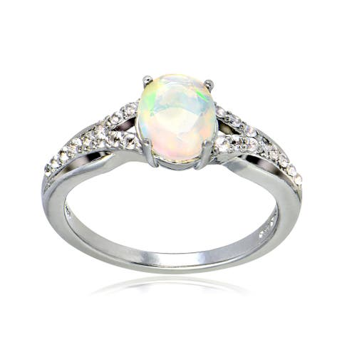 Glitzy Rocks Sterling Silver Ethiopian Opal and White Topaz Open Shank Ring