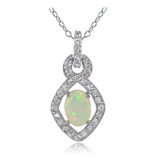 Glitzy Rocks Sterling Silver Ethiopian Opal and White Topaz Drop Necklace