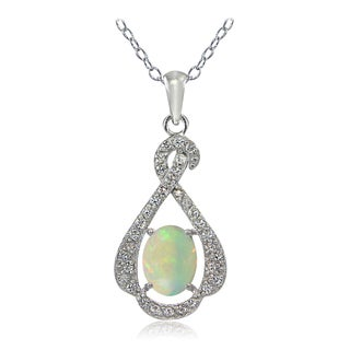Glitzy Rocks Sterling Silver Ethiopian Opal and White Topaz Infinity Necklace