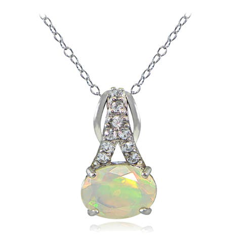 Glitzy Rocks Sterling Silver Ethiopian Opal and White Topaz Necklace