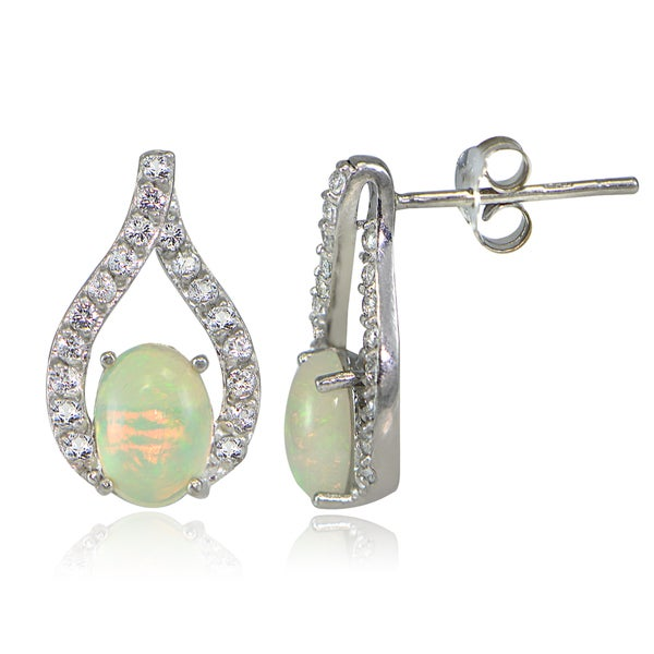 Glitzy Rocks Sterling Silver Ethiopian Opal and White Topaz Earrings
