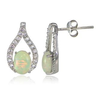 Glitzy Rocks Sterling Silver Ethiopian Opal and WhiteTopaz Earrings