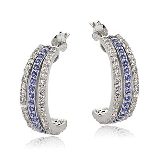 Glitzy Rocks Sterling Silver Tanzanite and White Topaz Half Hoop Earring