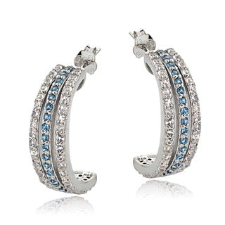 Glitzy Rocks Sterling Silver London Blue and WhiteTopaz Half Hoop Earring